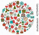 doodle vector icons merry... | Shutterstock .eps vector #427049491
