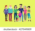 set of big happy family... | Shutterstock .eps vector #427049809