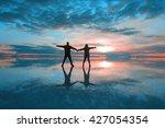 couple in the uyuni salt flat ... | Shutterstock . vector #427054354