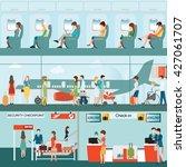 set of passenger airline at... | Shutterstock .eps vector #427061707