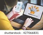 data backup files online... | Shutterstock . vector #427066831