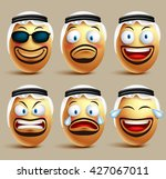 vector saudi arab man egg faces ... | Shutterstock .eps vector #427067011