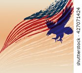 eagle silhouette with flag in... | Shutterstock .eps vector #427071424