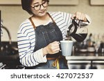 pouring coffee barista cafe... | Shutterstock . vector #427072537