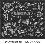 hand drawn breakfast food... | Shutterstock .eps vector #427077709