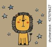 Stock vector funny cartoon lion vector print 427078627