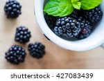 Top View Of Blackberries On A...