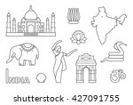 traditional symbols of india.... | Shutterstock .eps vector #427091755