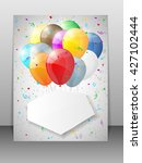 card with multicolored balloons.... | Shutterstock . vector #427102444
