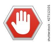 hand blocking sign stop | Shutterstock .eps vector #427112101