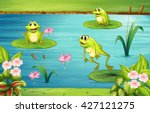 three frogs living in the pond... | Shutterstock .eps vector #427121275