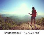 successful woman hiker at...   Shutterstock . vector #427124755