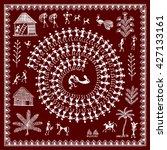 warli painting   hand drawn... | Shutterstock .eps vector #427133161