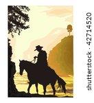 cowboy scene   Shutterstock .eps vector #42714520