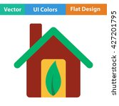 ecological home with leaf icon. ...