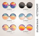 set of colorful sunglasses with ... | Shutterstock .eps vector #427206349