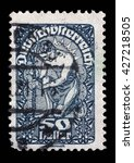 Small photo of ZAGREB, CROATIA - SEPTEMBER 05: a stamp printed in the Austria shows Man, Allegory of New Republic, Austria, circa 1919, on September 05, 2014, Zagreb, Croatia