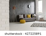 spacious cozy grey living room... | Shutterstock . vector #427225891