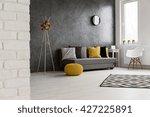 spacious cozy grey living room... | Shutterstock . vector #427225891