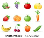 fruit and  vegetables icon set | Shutterstock .eps vector #42723352