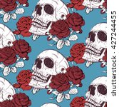 pattern skull and roses | Shutterstock . vector #427244455