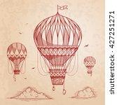 Vintage Air Balloons. Retro...