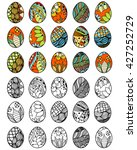 set of hand drawn easter eggs... | Shutterstock . vector #427252729