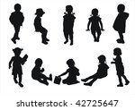kids silhouettes | Shutterstock . vector #42725647