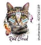 Stock photo cat print t shirt print i love you valentine s day animal print american indian children 427261189