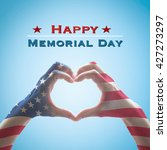 happy memorial day with america ...   Shutterstock . vector #427273297