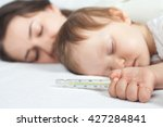 child has a normal temperature. ... | Shutterstock . vector #427284841