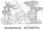 hand drawn doodle outline palm... | Shutterstock .eps vector #427300741