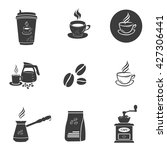 coffee set icons. flat vector... | Shutterstock .eps vector #427306441