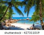tropical beach. praslin ...   Shutterstock . vector #427311019