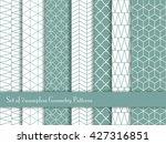 set of 7 seamless geometry... | Shutterstock .eps vector #427316851