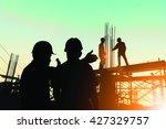 silhouette engineer standing... | Shutterstock . vector #427329757