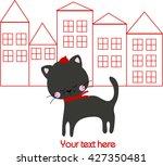 black cat in red cap on street | Shutterstock .eps vector #427350481