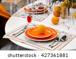 table decoration for meal time... | Shutterstock . vector #427361881