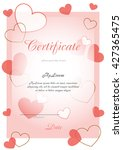 certificate of pink with hearts | Shutterstock .eps vector #427365475