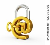 at sign as padlock   secure... | Shutterstock . vector #427391701