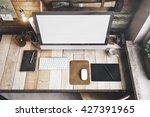 3d render of workspace mockup | Shutterstock . vector #427391965