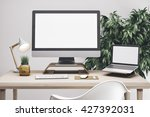 3d render of workspace mockup | Shutterstock . vector #427392031