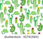 Watercolor Cactus Seamless...