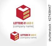 letters v and e  cube  line.... | Shutterstock .eps vector #427438447