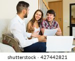salesman try hard to sign a... | Shutterstock . vector #427442821