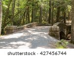 Historic carriage road bridge surrounded by forest (blurred background) in Acadia National Park, Maine, USA