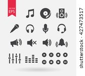 sound icons set vector  audio...