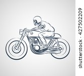 skull ride a classic cafe racer ... | Shutterstock .eps vector #427502209