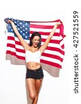 Sexy Woman With Usa Flag At...