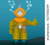diver in an old suit and scuba... | Shutterstock .eps vector #427540249